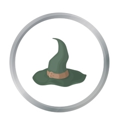 Witch s hat icon in cartoon style isolated on vector