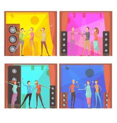 karaoke party compositions set vector image vector image