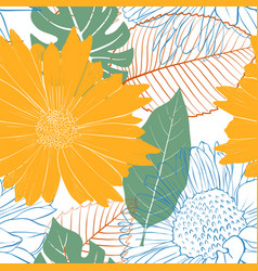 Seamless pattern with flowers and leaves vector