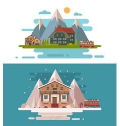 set of rustic dwellings vector image vector image