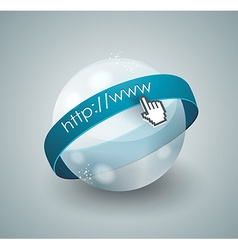 3d of abstract glass globe and mouse cursor vector image