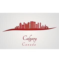 Calgary V2 skyline in red vector image vector image