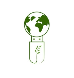 Green USB Technology with globe vector image vector image