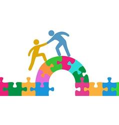 People help join solve bridge puzzle vector