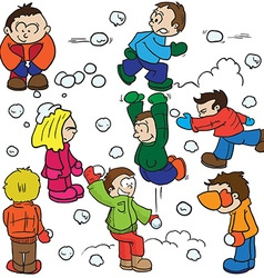 snowball fight vector image vector image