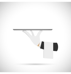 Waiter hand with tray and towel vector image