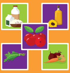 Dairy products vegetable oil vegetables herbs vector
