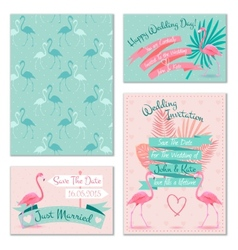Flamingo wedding invitation cards vector image vector image