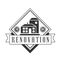 repair and renovation service black and white sign vector image