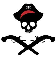 Skull and musket gun vector image