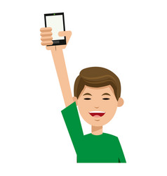 character man young holding smartphone smiling vector image