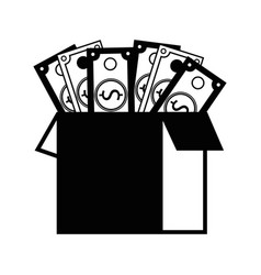 Contour box open with bills dollar vector