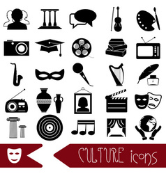 culture and art theme black simple icons set eps10 vector image vector image