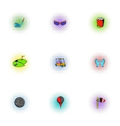 Game of golf icons set pop-art style vector image