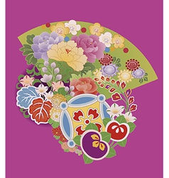 kimono-with-fan vector image vector image