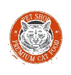 pet shop logo design template cat or food vector image vector image
