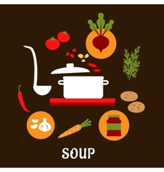 Recipe of vegetarian soup with flat icons vector image