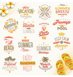 Set of summer holdays vacation and travel type vector image