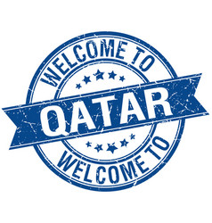 Welcome to qatar blue round ribbon stamp vector