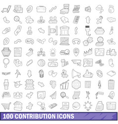 100 contribution icons set outline style vector image