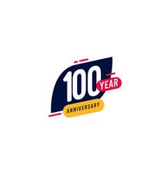 100 years anniversary blue yellow template design vector