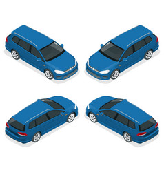 5-door hatchback car isolated isometric vector