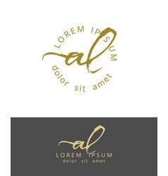 A l initials monogram logo design dry brush vector