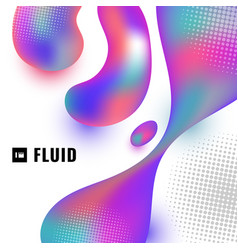 abstract 3d colorful fluid shape with halftone on vector image