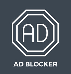 ad blocker thin line icon vector image
