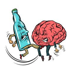Alcoholism destroys brain drunk fight bottle vector