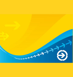 arrow background in yellow and blue colors vector image