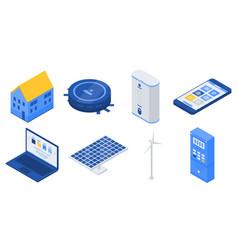 Autonomous house icons set isometric style vector