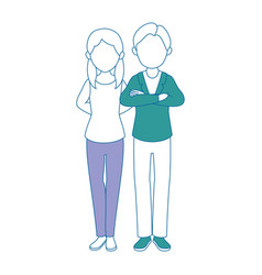 Avatar couple with casual clothes icon vector