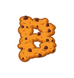 B letter cookies cookie font oatmeal biscuit vector