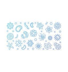 Bacteria blue horizontal banner virology vector