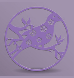 bird in a circle with die cut flowers vector image