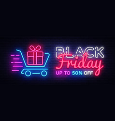 black friday sale neon text design template vector image