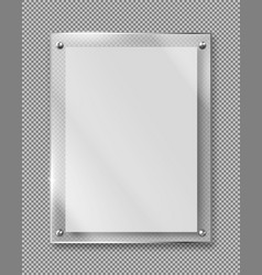 blank poster banner glass frame realistic vector image