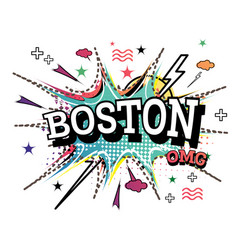 boston comic text in pop art style isolated on vector image