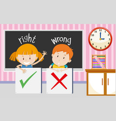 Boy and girl with right and wrong sign in vector