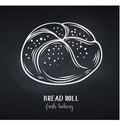 Bread rolls chalkboard style vector