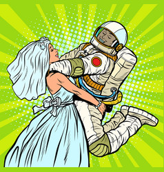 Bride and groom at wedding astronaut and his vector