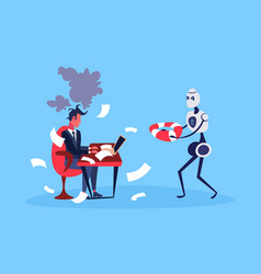 businessman hard working process robot hold vector image
