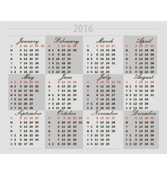 calendar 2016 on a gray background vector image