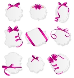 Card with Pink Ribbon and Bow Set vector image