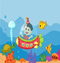 Cartoon a kids in the submarine vector image