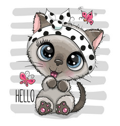 cartoon kitten with a butterflies on striped vector image