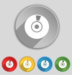 CD or DVD icon sign Symbol on five flat buttons vector