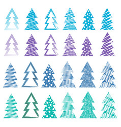 Christmas and new year trees set vector