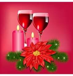 Christmas Wine Candles Card vector